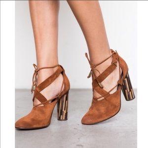 Free People Nouvella Brown Suede Wrap Heels